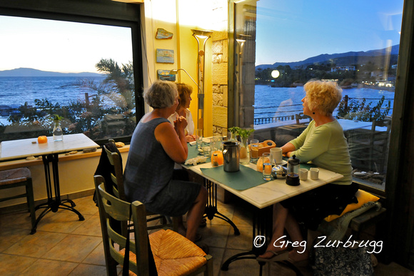 "Dining at a favorite Stoupa restaurant, ""Yesterday and Today"""