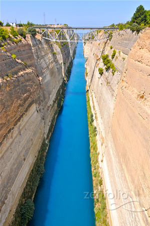 Corinth Canal.  Completed in 1893, it cuts across the Isthmus of Corinth.