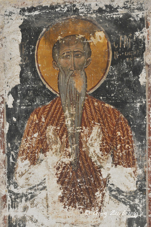 Fresco on the wall of the Byzantine Church of the Apostles.