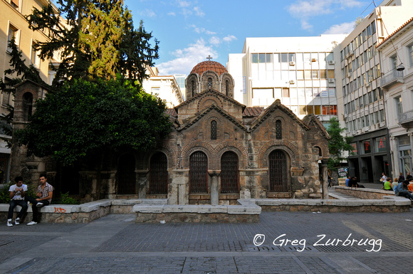 Byzantine church surrounded by office buildings in Athens