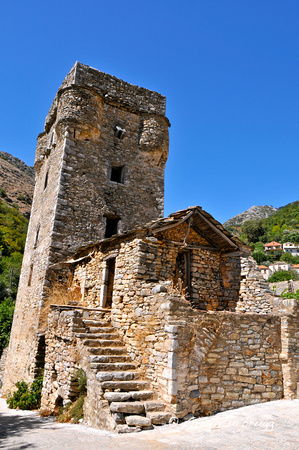 A Maniot Tower in the mountain village of Kastania.  Used for defense from pirates and feuds with neighbors.